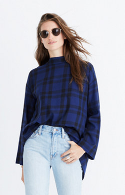 Plaid Mockneck Cross-Back Shirt