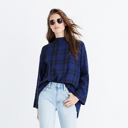 Plaid Mockneck Cross-Back Shirt