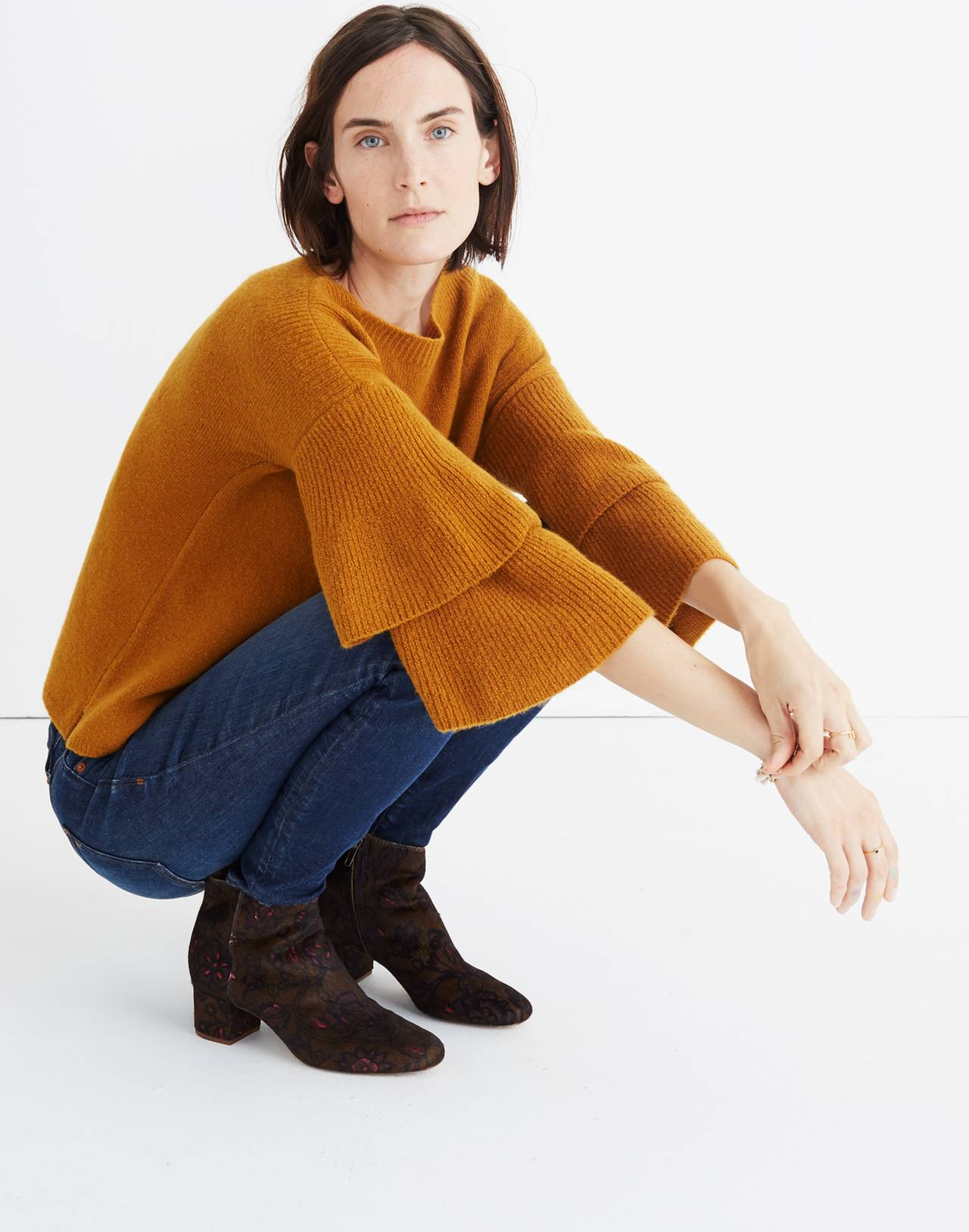 Tier-Sleeve Pullover Sweater in Coziest Yarn in golden harvest image 2
