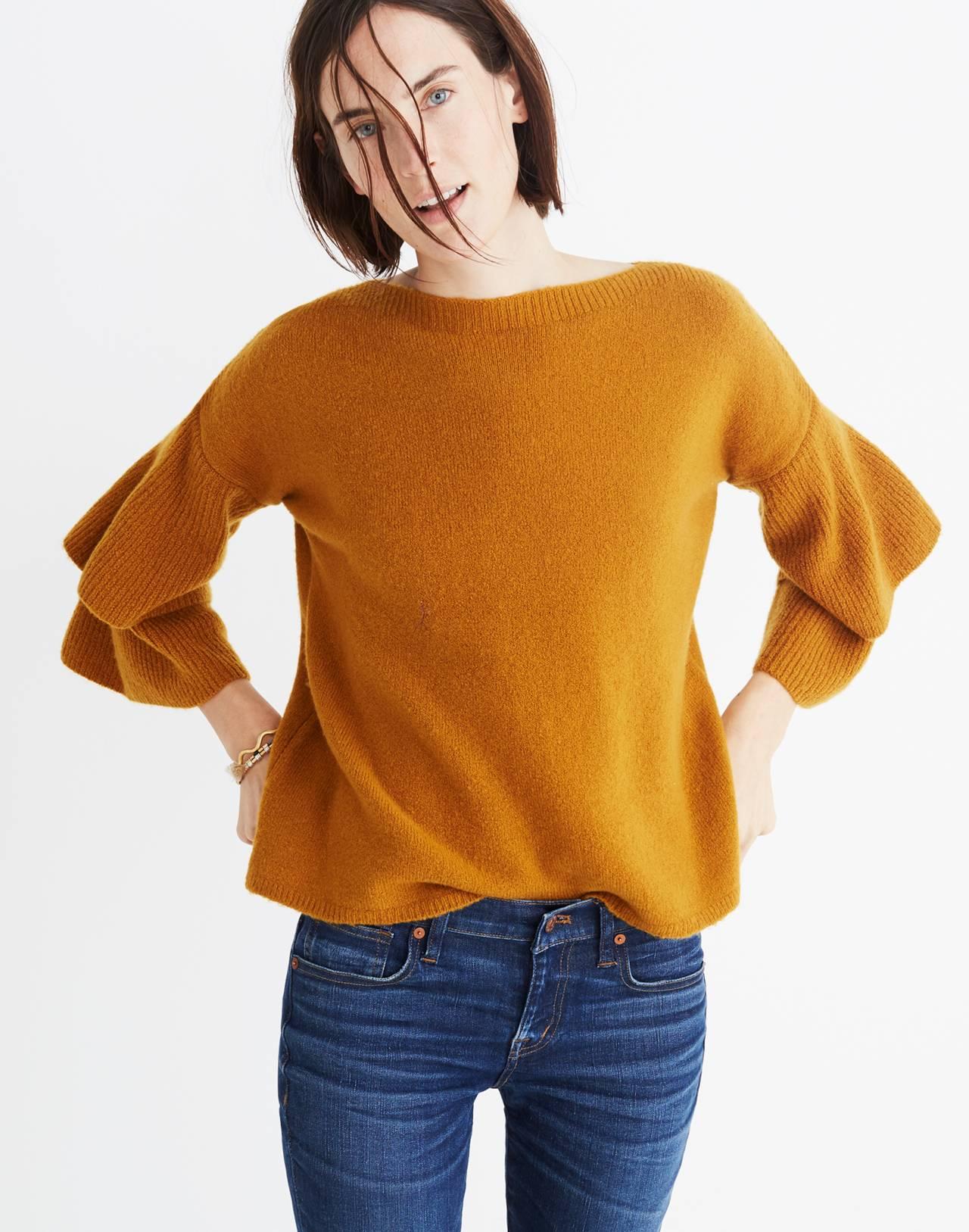 Tier-Sleeve Pullover Sweater in Coziest Yarn in golden harvest image 3