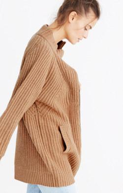 Ribbed Zip Cardigan Sweater
