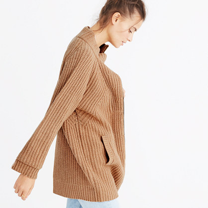 Ribbed Zip Cardigan Sweater