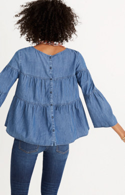 Denim Tiered Button-Back Top