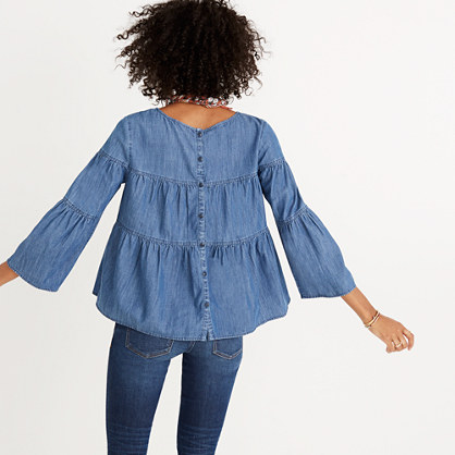 Pre-order Denim Tiered Button-Back Top