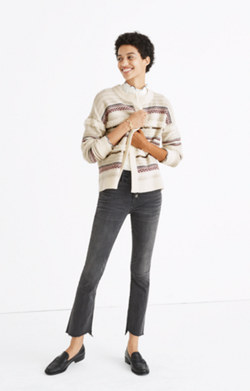 Paillette-Stripe Cardigan Sweater