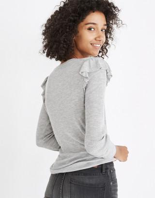 Ruffle-Sleeve Pullover Sweater