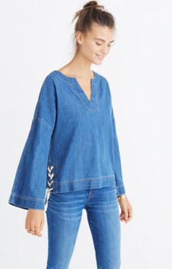 Denim Side-Lace Top in Andie Wash