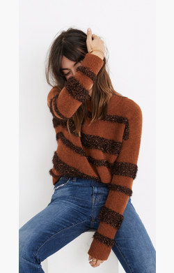 Tinsel-Stripe Pullover Sweater