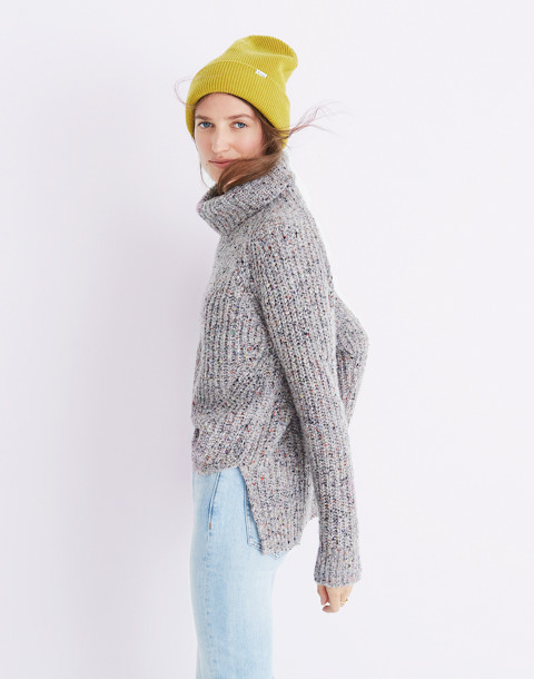 Colorfleck Ribbed Turtleneck Sweater in donegal mink image 3