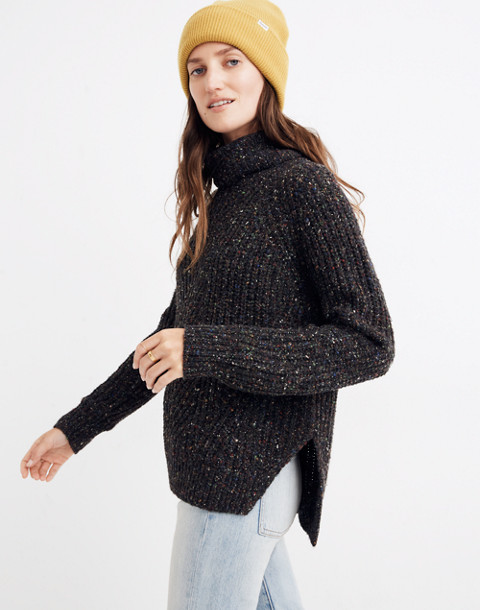 Colorfleck Ribbed Turtleneck Sweater in donegal pewter image 2