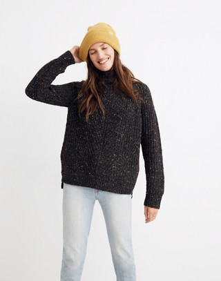 Colorfleck Ribbed Turtleneck Sweater in donegal pewter image 1