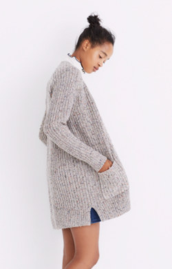Colorfleck Ribbed Cardigan Sweater