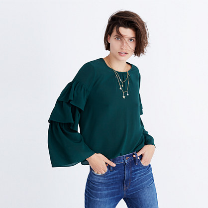 Silk Ruffle-Sleeve Top