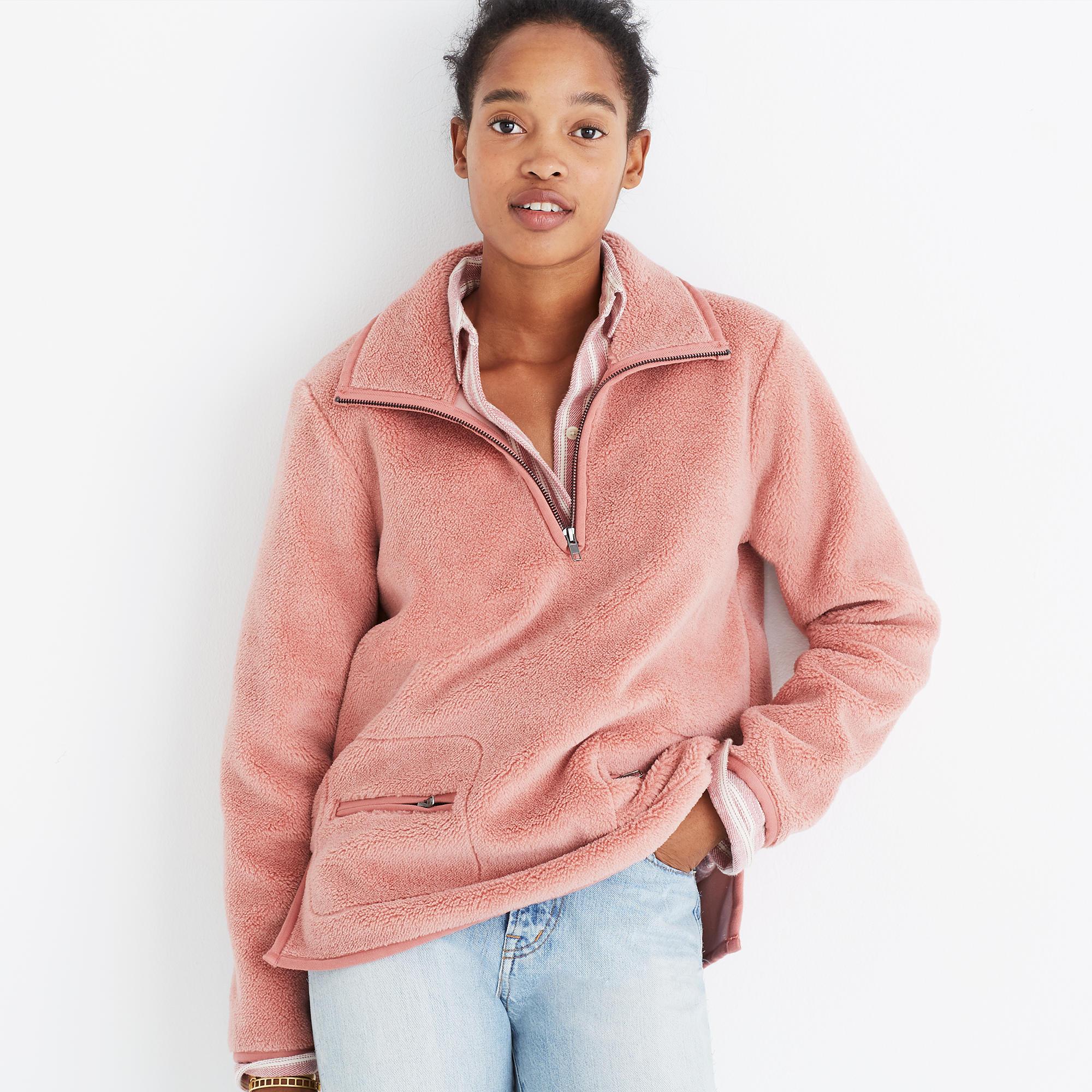 Pink Sherpa Popover Top : shopmadewell sweatshirts | Madewell