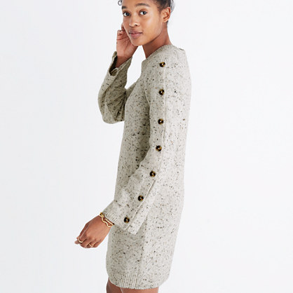 Donegal Button-Sleeve Sweater-Dress