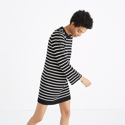 Button-Sleeve Sweater-Dress in Stripe