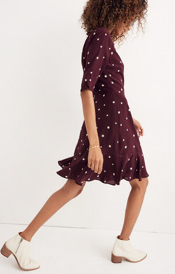 Silk Flutter-Hem Dress in Star Mix