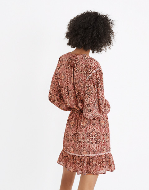Drawstring Peasant Dress in Kaleidoscope Print in kaliedoscope gentle blush image 2