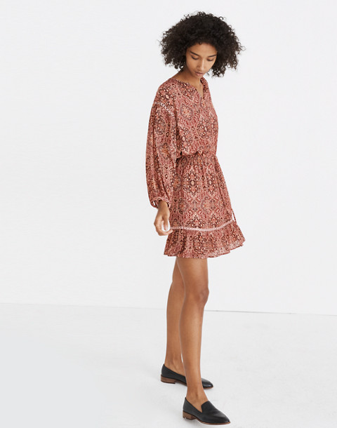Drawstring Peasant Dress in Kaleidoscope Print in kaliedoscope gentle blush image 3