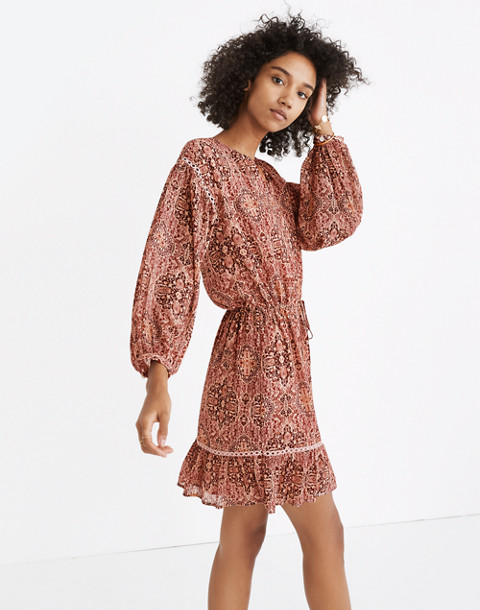 Drawstring Peasant Dress in Kaleidoscope Print in kaliedoscope gentle blush image 1
