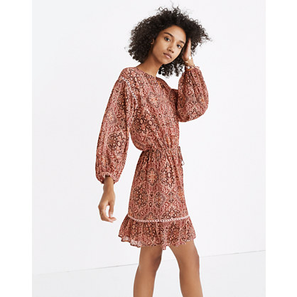 Drawstring Peasant Dress in Kaleidoscope Print