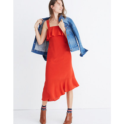 Silk Ruffle Tank Dress