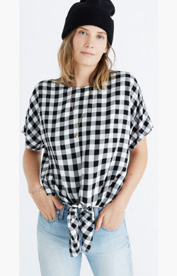 Button-Back Tie Tee in Buffalo Check