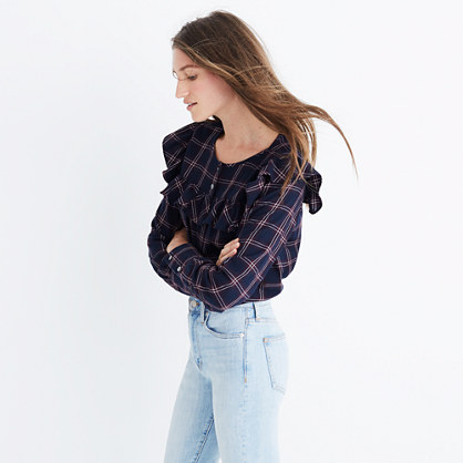 Plaid Ruffle-Yoke Top