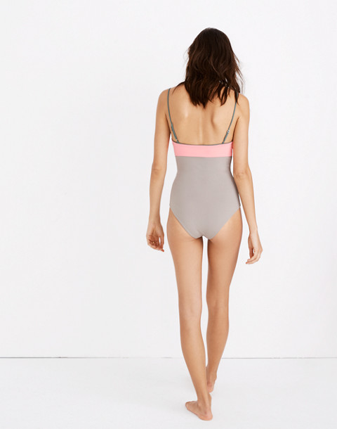 Madewell x Tavik® Scarlett One-Piece Swimsuit in Colorblock in electric pink stone image 2