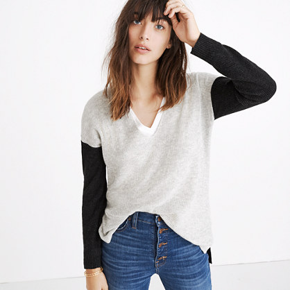 Warmlight V-Neck Pullover Sweater in Colorblock : pullovers | Madewell