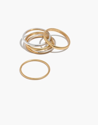 Delicate Stacking Ring Set in mixed metal image 1