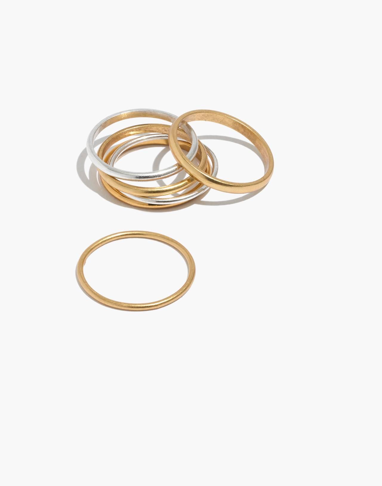 Delicate Stacking Ring Set in mixed metal image 1