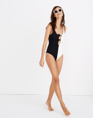 Mara Hoffman® Maven Tie-Front One-Piece Swimsuit in Colorblock in black cream image 3