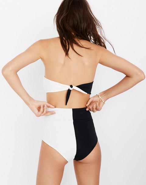 Mara Hoffman® Lydia High-Waist Bikini Bottom in Colorblock in black cream image 2