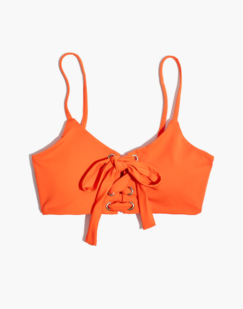 Mara Hoffman® Scarlett Lace-Up Bikini Top in orange image 4