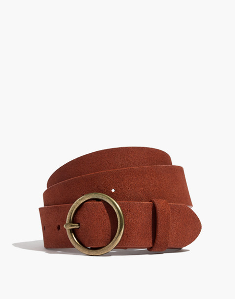 Suede Circle Buckle Belt in maple syrup image 1