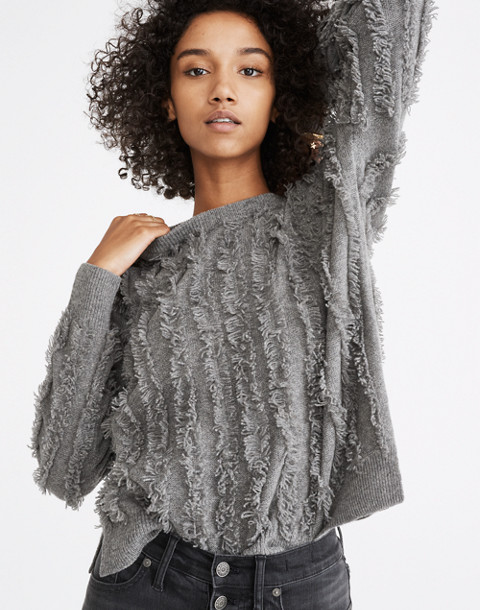 Fringe-Stripe Pullover Sweater