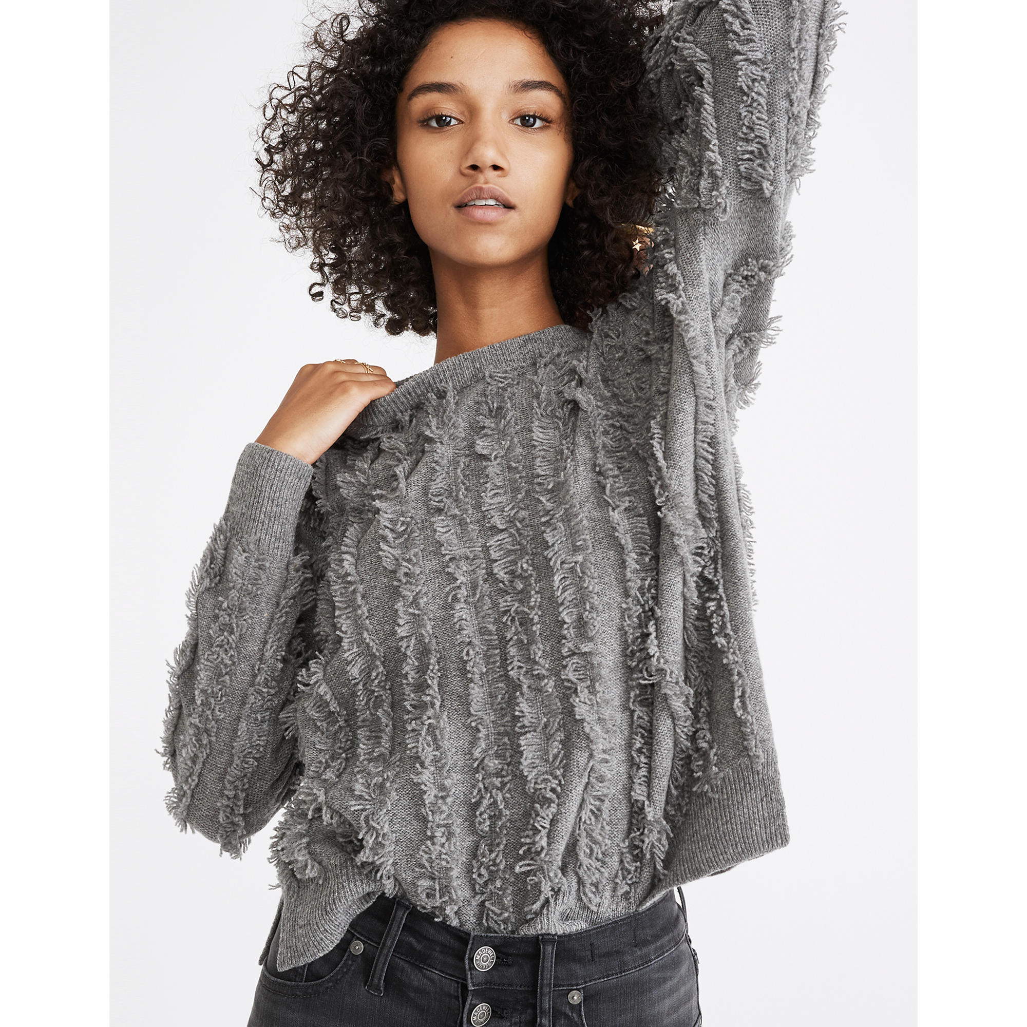 Image result for Madewell fringe stripe pullover sweater