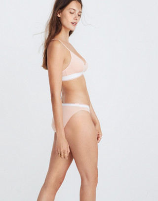 Cotton-Modal® Eliza Cutout Bralette in Sport Stripe in blanched coral image 3