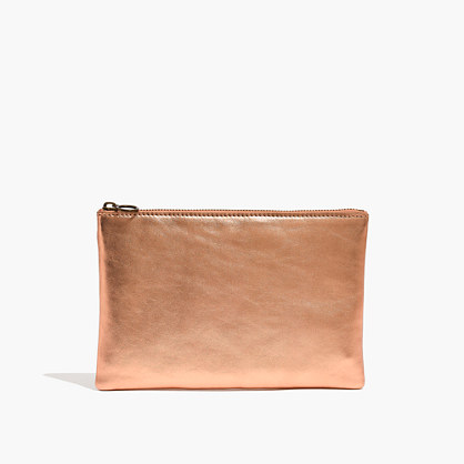 The Leather Pouch Clutch in Metallic