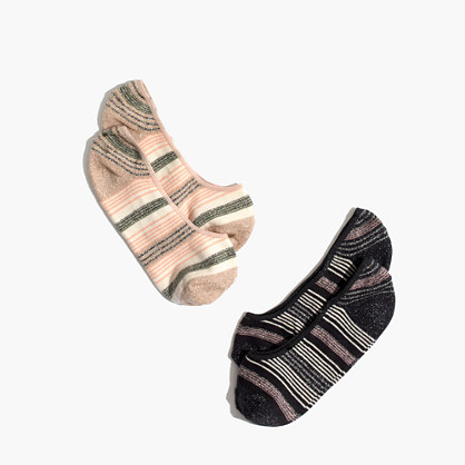 Two-Pack Metallic Stripe Low-Profile Socks