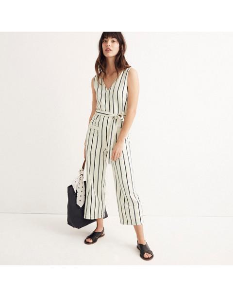 Striped Pull-On Jumpsuit in marta stripe image 1