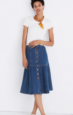 Denim Bayview Tiered Midi Skirt