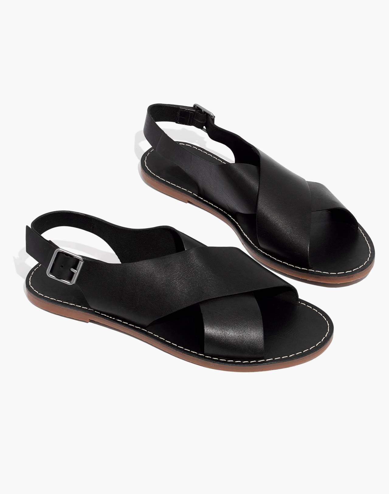 The Boardwalk Crossover Sandal in true black image 1