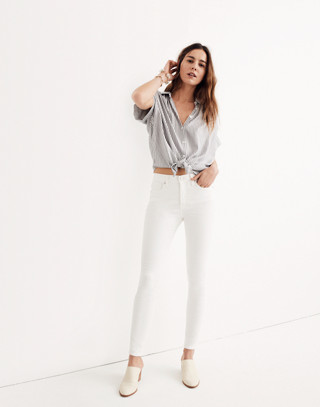 """Petite 9"""" High-Rise Skinny Jeans in Pure White in pure white image 1"""