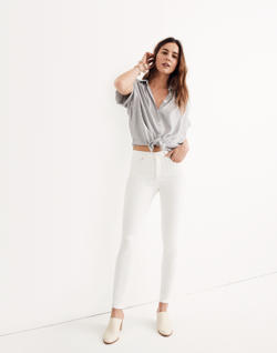 "Short 9"" High-Rise Skinny Jeans in Pure White"