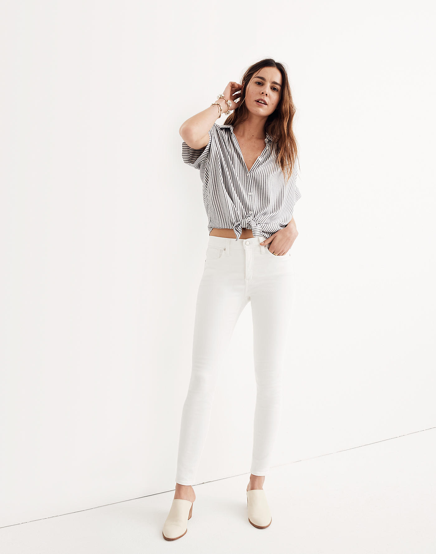 Madewell 9 Mid-Rise Skinny Jeans in Pure White