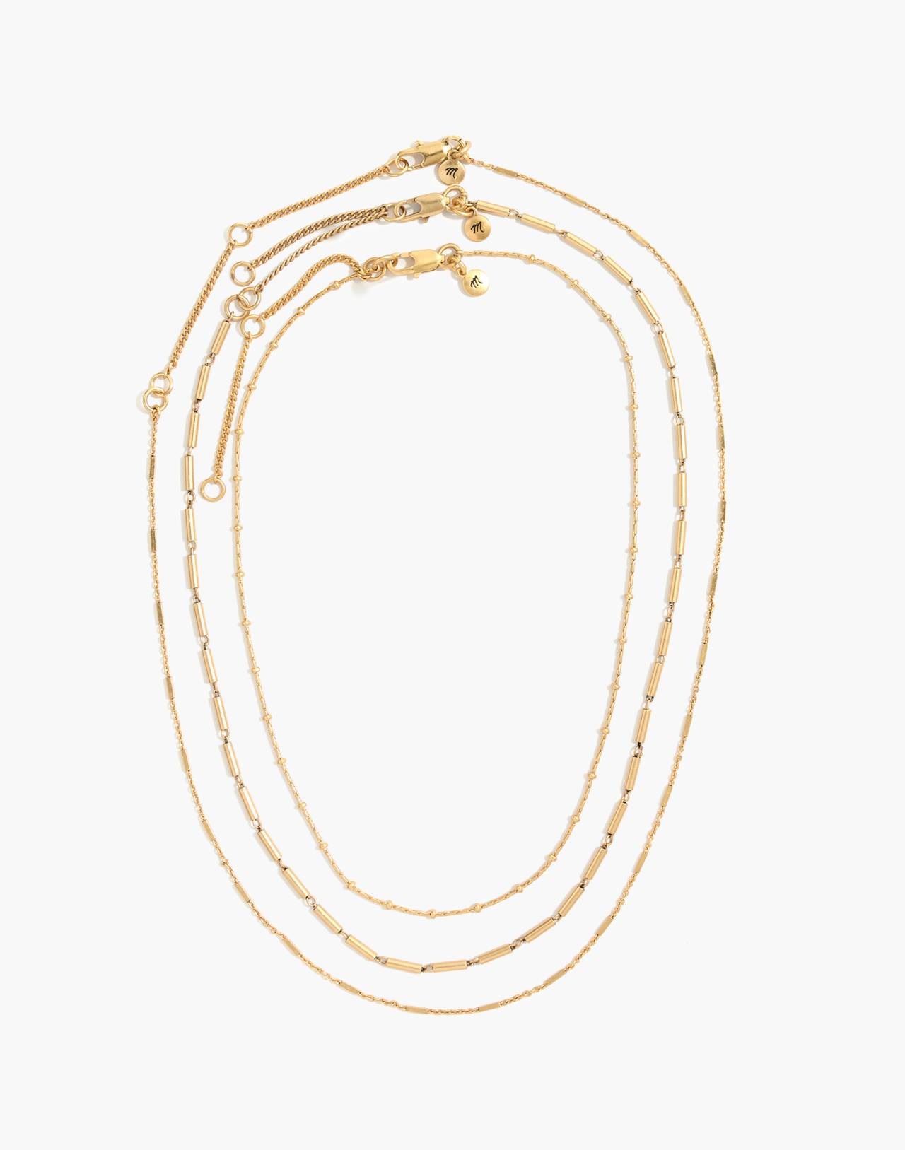 Delicate Chain Necklace Set in mixed metal image 2