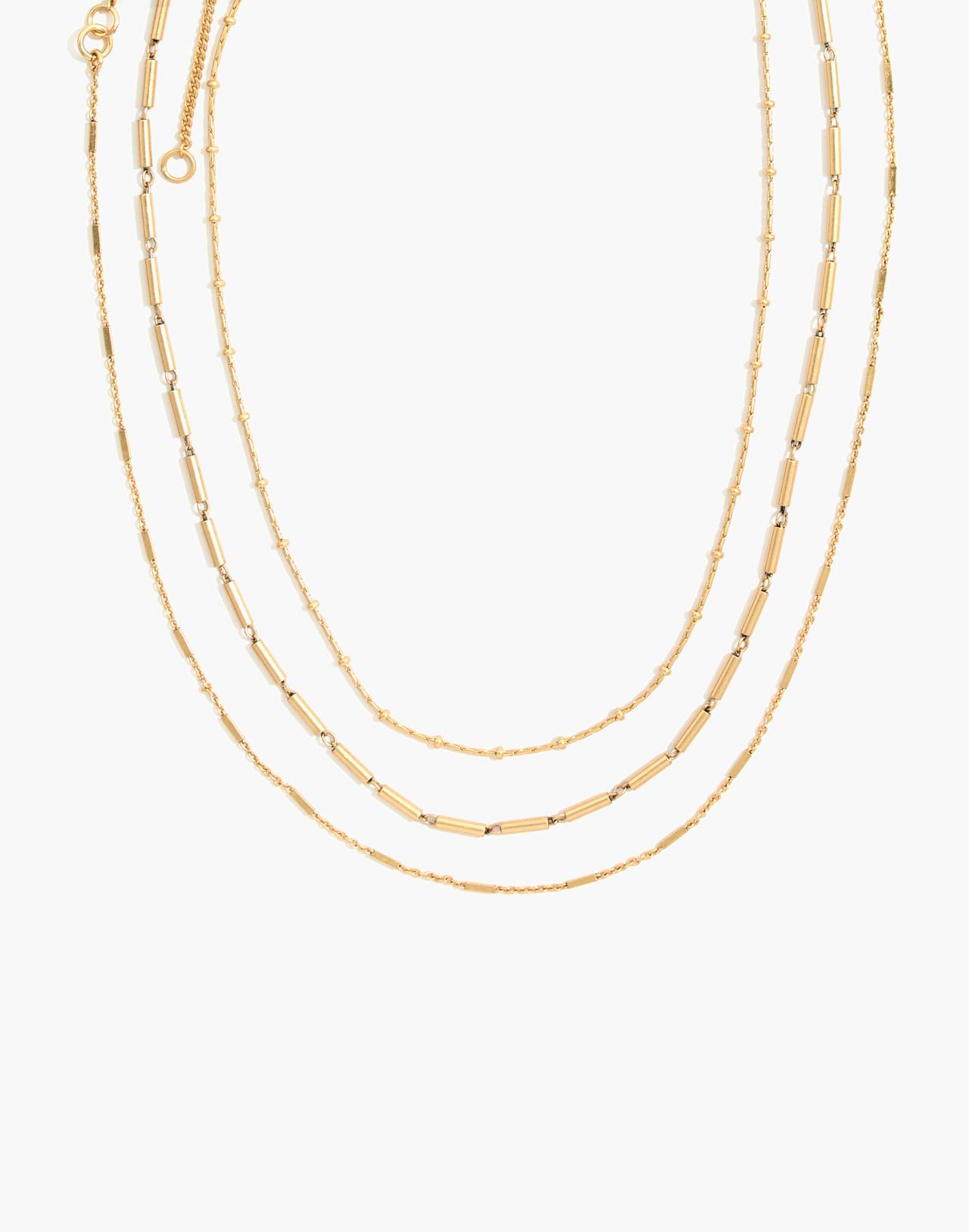 Delicate Chain Necklace Set in mixed metal image 1