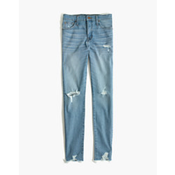 "Tall 9"" High-Rise Skinny Jeans in Ontario Wash: Distressed-Hem Edition"